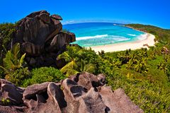 Seascape view  with a huge stones. Seascape  fisheye view  with a huge stones, Seychelles, LaDigue island, The Indian Ocean Royalty Free Stock Images