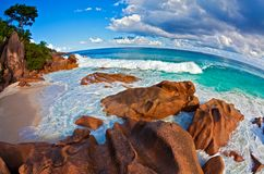 Seascape view  with a huge stones. Seascape  fisheye view  with a huge stones, Seychelles, LaDigue island, The Indian Ocean Royalty Free Stock Photo