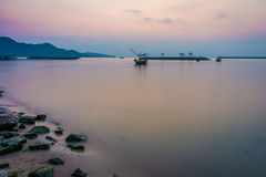 Seascape view of Khlong Wan beach in the morning Stock Photos