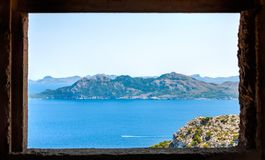 Seascape View in Mallorca, Spain. Picturesque view from top of the mountain at Cap de Formentor, Spain, famous holiday destination in Europe Stock Photography