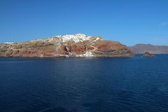 Seascape view of Oia - Liitle Town on mountain top in Santorin stock photo