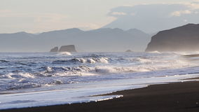 Seascape: view of Pacific Coast of Kamchatka Peninsula stock footage