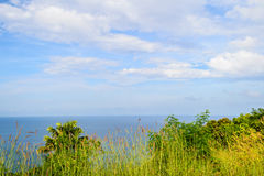 Seascape view point with blue sky and cloud from Kamala mountain in Phuket Royalty Free Stock Photography