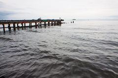 Seascape view with wooden bridge Stock Photography