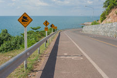 Seascape Viewpoint of The road along the sea at Kung Wiman Bay in Chanthaburi Province. Royalty Free Stock Photo