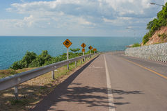 Seascape Viewpoint of The road along the sea at Kung Wiman Bay in Chanthaburi Province. Royalty Free Stock Image