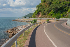 Seascape Viewpoint of The road along the sea at Kung Wiman Bay. Stock Photos