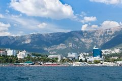 Views of the Crimean coastline with hotels and beaches with moun Stock Image