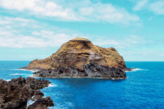 Seascape. Volcanic island near the island of Madeira royalty free stock photography