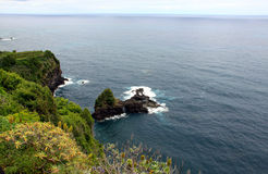 Seascape. Volcanic island near the shore. Madeira island royalty free stock photography