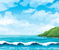 Seascape with waives and island Royalty Free Stock Photo