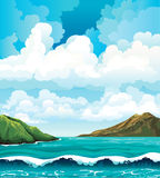 Seascape with waives and islands Royalty Free Stock Photos