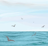 Seascape with water surface,cloudy sky,flying seagulls Stock Images