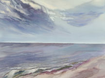 Seascape watercolor background Stock Images