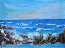 Seascape: waves crashing on a seashore stock illustration