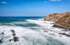 Seascape waves erode the coast. Portugal. Stock Image