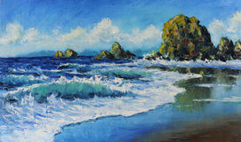 Seascape, waves, rocks, clouds, oil painting. Original oil painting seascape, waves, rocks, clouds on canvas. Impasto artwork. Impressionism art Royalty Free Stock Images