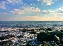 Seascape with waves Stock Photo