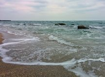 Seascape with waves and rocks Royalty Free Stock Photography