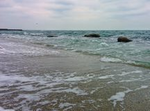 Seascape with waves and rocks Royalty Free Stock Photo
