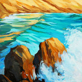 Seascape with waves and rocks oil on canvas, illustration Royalty Free Stock Image