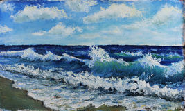 Seascape, waves of the sea, blue sky, clouds, oil painting Royalty Free Stock Images