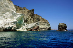 Seascape and white beach of Santorini Royalty Free Stock Photos