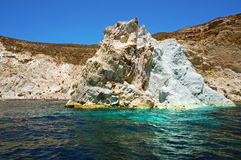 Seascape and white beach of Santorini Royalty Free Stock Photography