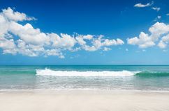 White sand beach and blue sky Royalty Free Stock Photography