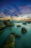 Seascape White Stone. Beautiful Seascape in twilight time at Lan Hin Kaw, Rayong Thailand royalty free stock photos