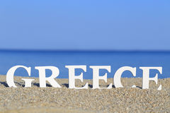 Seascape with white word Greece Stock Photo