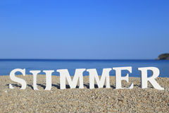 Seascape with white word summer Stock Photo