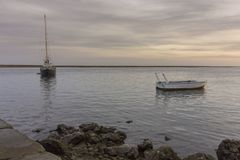 Seascape widok Olhao dockyard, nabrzeże Ria Formosa Algarve Obraz Royalty Free