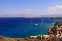 Seascape widoku wioska Agios Nikolaos Fotografia Stock