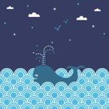 seascape wieloryb royalty ilustracja