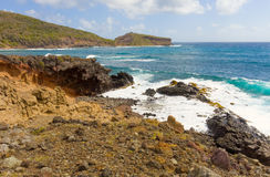 A seascape on the windward side of an island in the caribbean Royalty Free Stock Photo