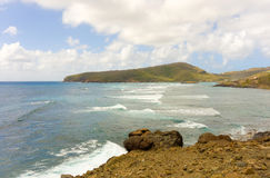 A seascape on the windward side of an island in the caribbean Royalty Free Stock Image