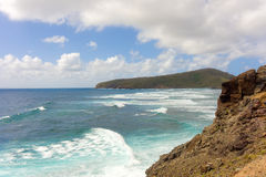 A seascape on the windward side of an island in the caribbean Stock Photography