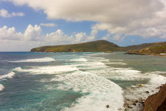 A seascape on the windward side of an island in the caribbean Royalty Free Stock Images