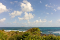 A seascape on the windward side of an island in the caribbean Stock Photos