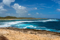 Seascape on a windy day at Pointe des Chateaux in Guadeloupe. Seascape on a windy day at cape Pointe des Chateaux in Guadeloupe Royalty Free Stock Image