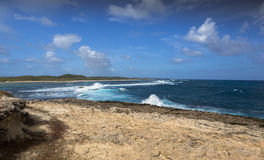 Seascape on a windy day at Pointe des Chateaux in Guadeloupe. Seascape on a windy day at cape Pointe des Chateaux in Guadeloupe Stock Photo