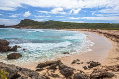 Seascape on a windy day at Pointe des Chateaux in Guadeloupe stock images