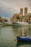 SEASCAPE WINTER.Molfetta harbour: seagull over snow-covered boat..ITALY(Apulia) Stock Photo