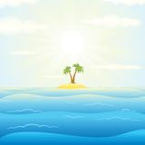 Seascape withTropical Island. Vector Illustration Royalty Free Stock Photos
