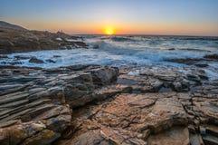 Seascape wschód słońca Crete, Grecja Obrazy Stock