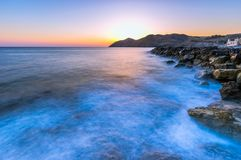 Seascape wschód słońca Crete, Grecja Obrazy Royalty Free