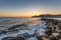 Seascape wschód słońca Crete, Grecja Zdjęcie Royalty Free