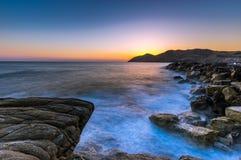 Seascape wschód słońca Crete, Grecja Fotografia Stock