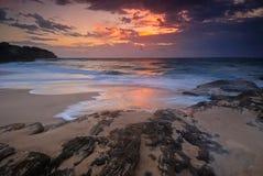 Seascape wschód słońca z spływaniem Zdjęcie Stock